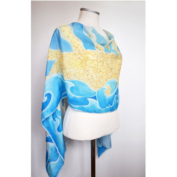Hand painted silk scarf- Silk Scarf Sea View- blue silk scarf- Ocean... (110 CAD) ❤ liked on Polyvore featuring accessories and scarves