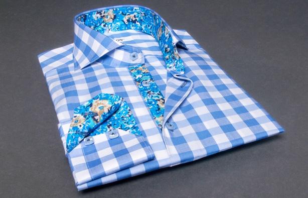 #Blue #Checkered #Shirt #Floral Lining Bulldog Collar  $86.90 #frenchflair