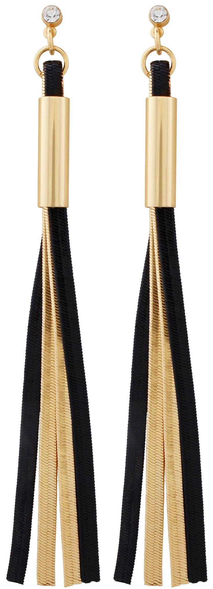 Material:  Ohrstecker mit hellem Strassstein, an dem zwei schwarze sowie zwei goldfarbene Stränge in Schlangenketten-Optik befestigt sind.            Länge:  9 cm      Breite:   ca. 0,5 cm