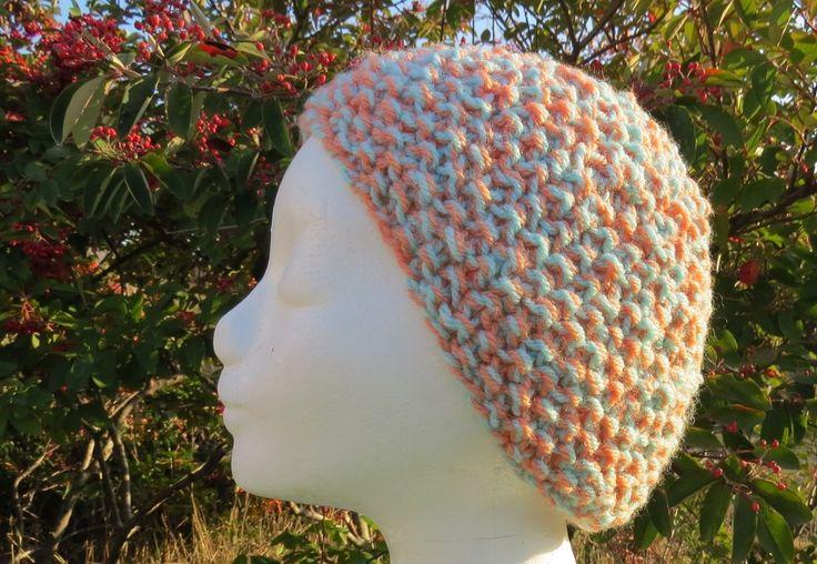 Bonnet grande taille turquoise et orange