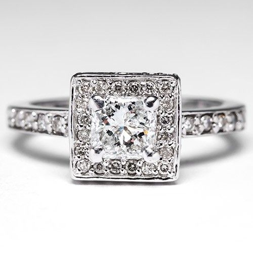 Square Diamond Halo Engagement Ring in 18K White Gold - EraGem