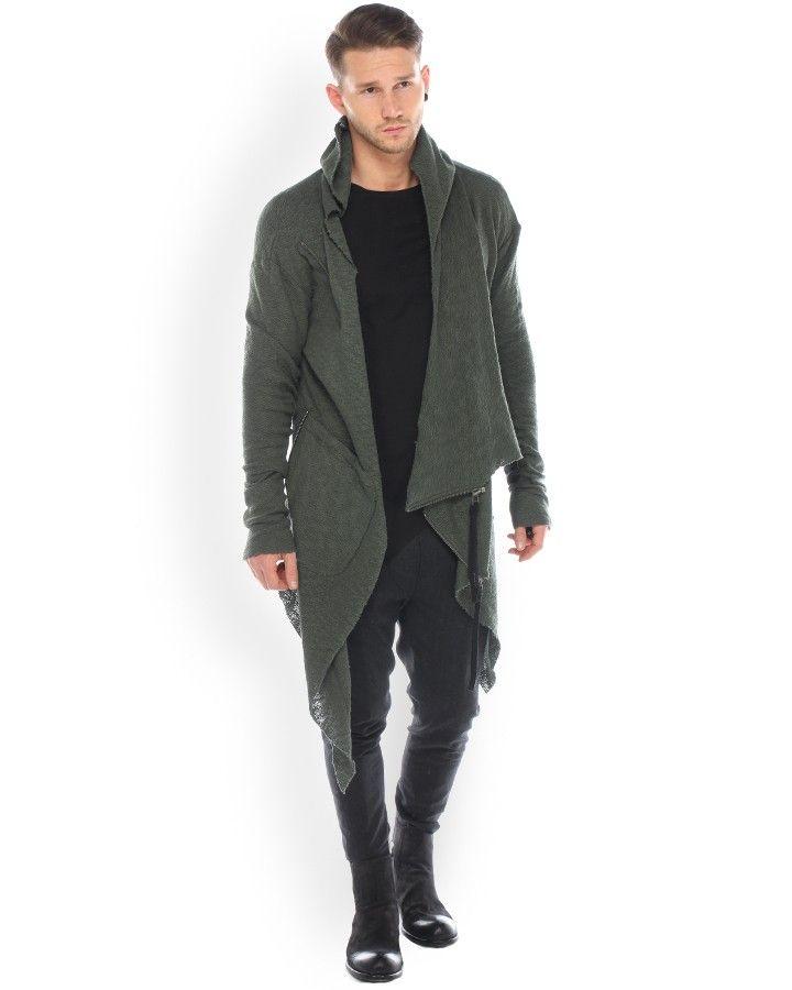 Army of Me Cardigan Grün  stylischer Avantgarde Cardigan vom trendigen Label Army of Me in grün offener, asymetrischer Saum 2 Aufgesetzte Taschen vorn Reißverschluss seitlich auf der Brust besondere Materialbearbeitung