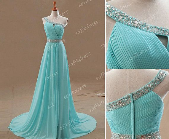 one shoulder prom dress tiffany blue prom dress by sofitdress, $136.00  - This dress in white and the train can detach