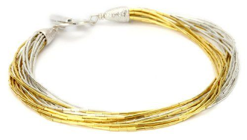 "Gold Silk 15 Strand Gold and Silver Silk Bracelet Gold Silk. $62.99. Splendid 15 strand gold and silver bracelet, 7.5"" (19cm) length Handmade with 18k high micron gold plating. Meticulously assembled with hand-finishing techniques. Handmade and may vary in size. Size is approximate. Made in United States"