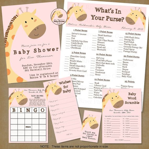 Giraffe Baby Shower -- Printable Party Package -- 7 Items Included