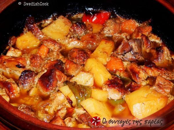 Χοιρινή τηγανιά στο φούρνο με πατάτες #sintagespareas
