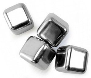 """Danesco Ice Cubes - Reusable - Stainless steel by Danesco. $24.99. Dimensions: 1""""L × 1""""W × 1""""H. Set of 4. These reusable and food-safe ice cubes won't melt and dilute the taste of your drink. Each cube.... These reusable and food-safe ice cubes won't melt and dilute the taste of your drink. Each cube is filled with a non-toxic gel that is safely sealed inside each cube to keep them extra cold. Smooth rounded edges won't scratch glasses. Simply rinse in water an..."""
