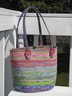 Bias stripping over clothesline, then stitched into basket. Love!