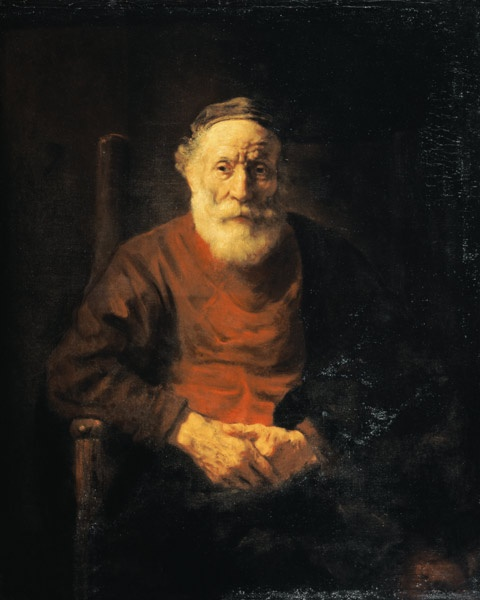 Rembrandt van Rijn - Portrait of an old man in a red gown.