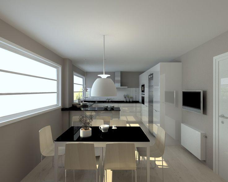 Cocina Santos Modelo Line Laminado Blanco Brillo Encimera Granito Negro