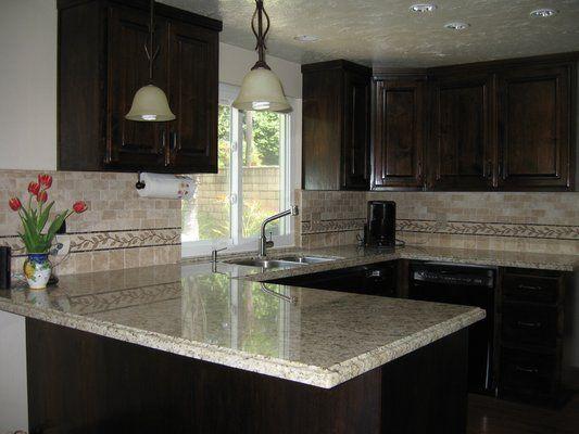 Kitchen Granite Countertops Ideas With Dark Brown Cabinets ...