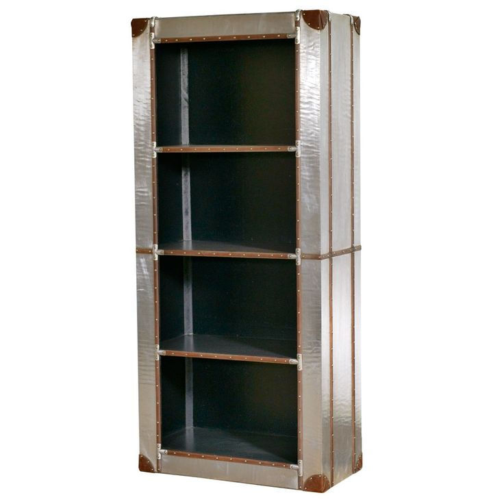 3 shelf aluminium and leather bookcase or display unit. We love it!!!