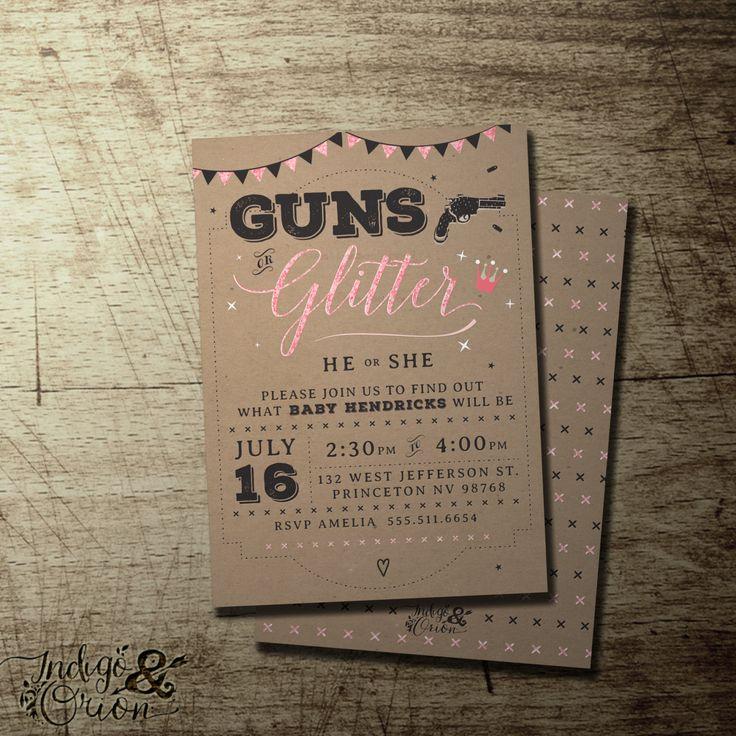 Guns or Glitter Gender Reveal invitation gender
