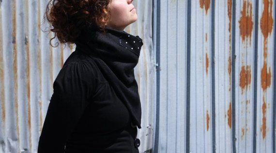 Snood Femme, Foulard noir, bandana, foulard, mode, accessoire femme, zel ecodesign