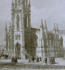 Antique engraving, St Stephens Church, Bath, Somerset.