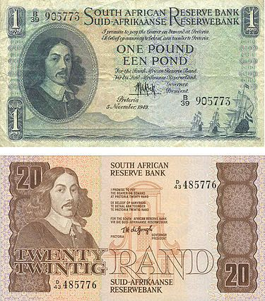 Union and Apartheid-era South African money featuring Jan van Riebeck. He is no longer featured on South African money, which MIGHT have something to do with the fact that he begged the Dutch East India Company to let him enslave the natives.