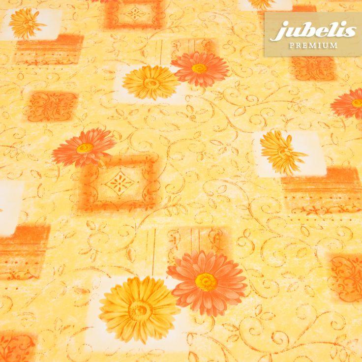 jubelis® Premium-Tischdecke abwaschbar Wachstuch Garden gelb-orange