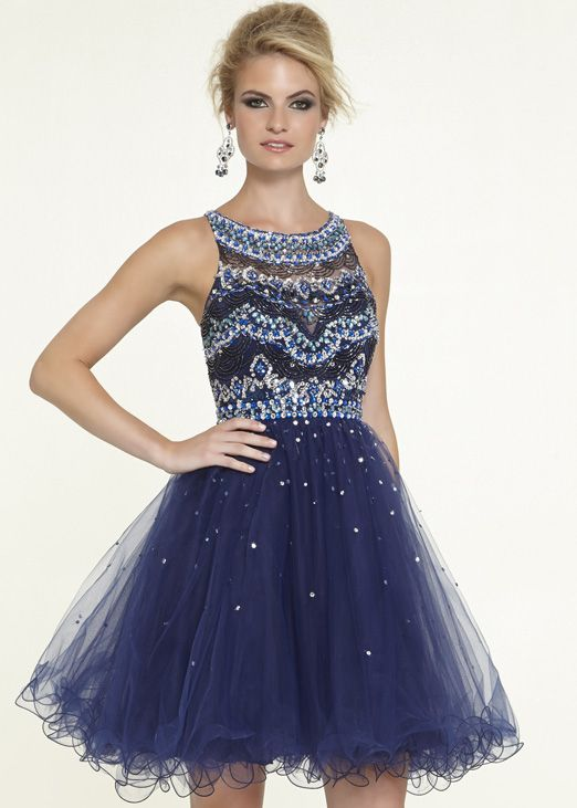 Sticks & Stones by Mori Lee 9304 Navy Beaded Short Prom Dress - New 2015 Prom Dresses at RissyRoos.com
