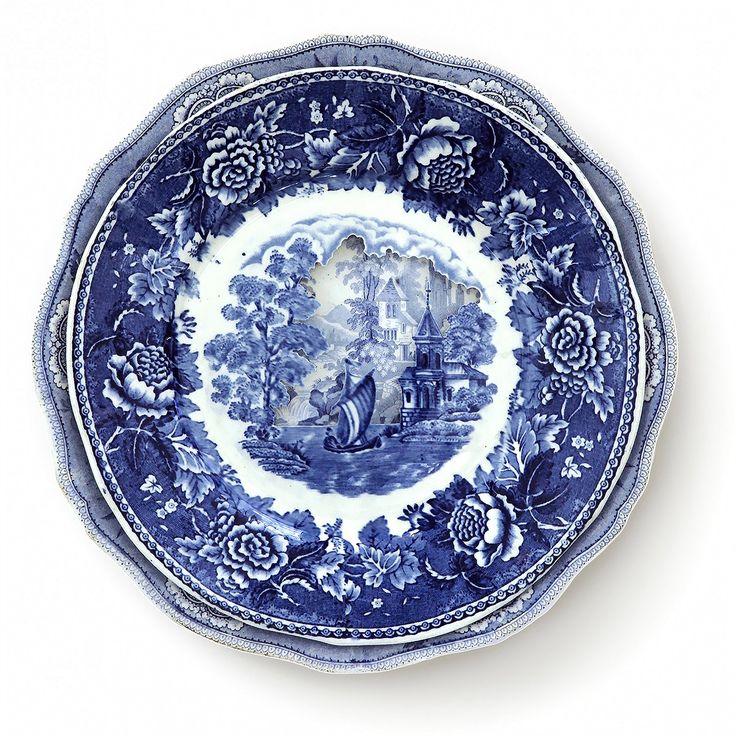 Landscapes Sculpted into Layered Antique Dinner Plates by Caroline Slotte