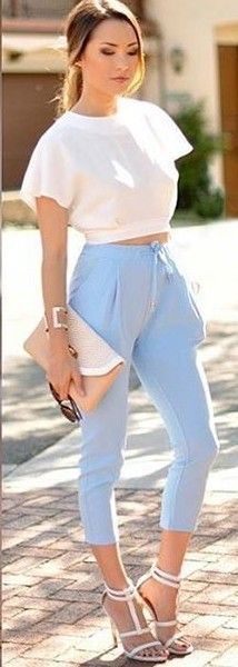 White Crop + Baby Blue Pants                                                                             Source