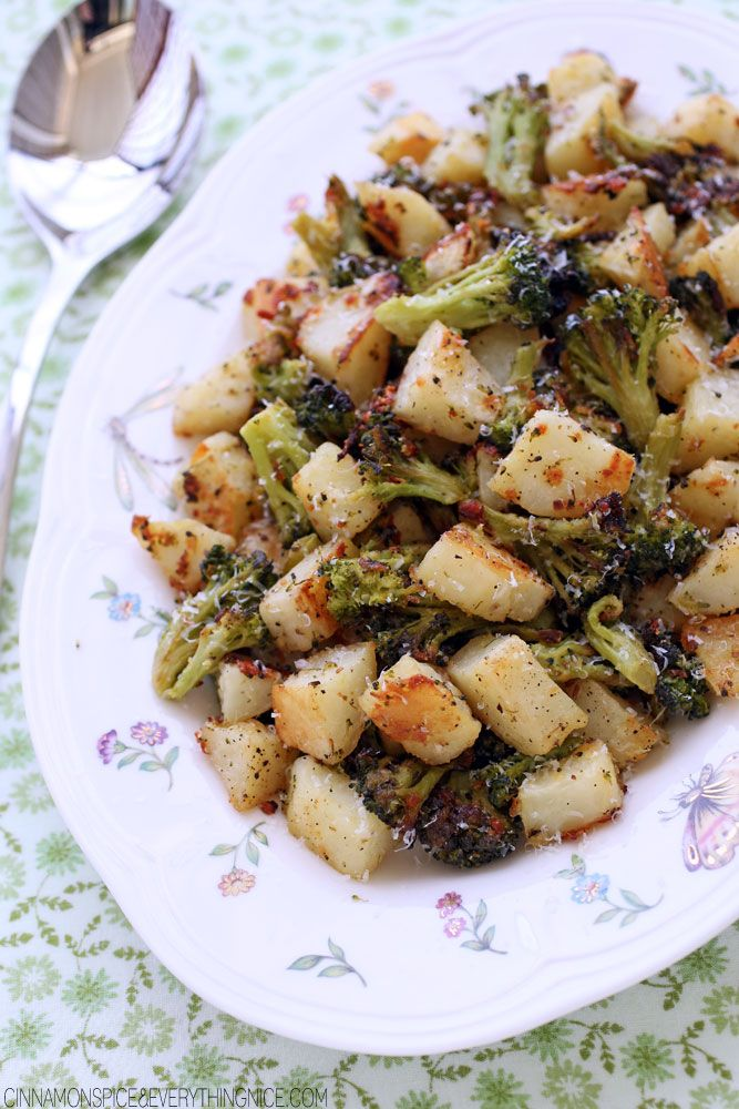 Parmesan Garlic Roasted Broccoli and Potatoes