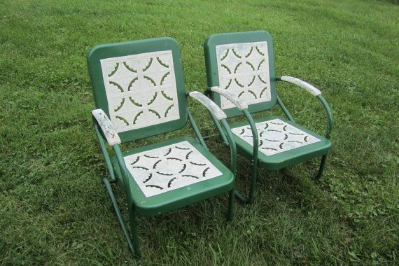 Matched Set of Vintage 1950s Outdoor Chairs Vintage Porch Furniture Metal Chairs Green White- $200