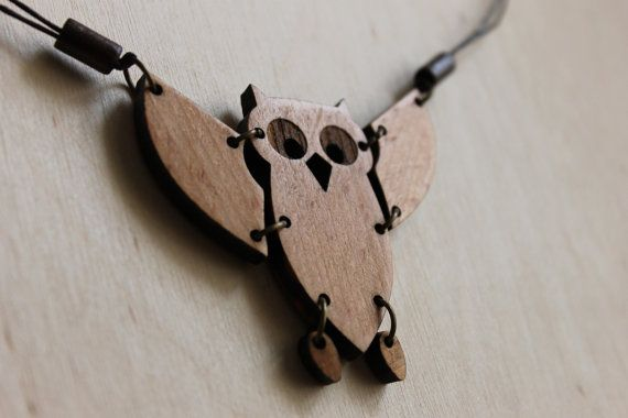 Wooden Pendant Owl  Wood and Cotton Necklace  by OurRedColibri