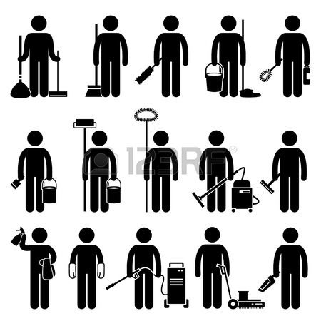 Cleaner Man with Cleaning Tools and Equipments Stick Figure Pictogram Icons photo