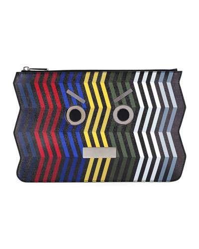 Fendi+Face+Chevron+Leather+Pouch+Multi+|+Bag