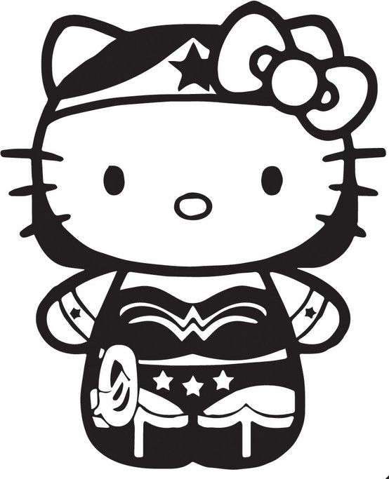 Hello Kitty Superhero Coloring Pages : Wonder woman hello kitty coloring sheet superhero