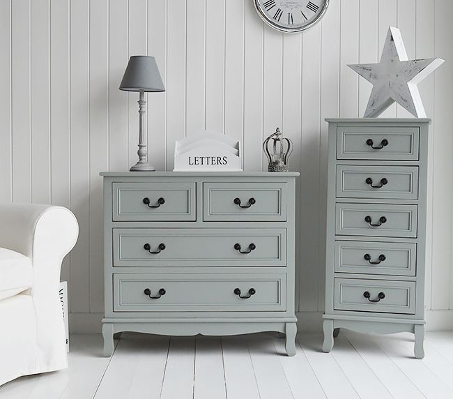 Berkeley grey chest of drawers furniture for bedroom, living, hall and bathroom. Grey painted furniture.