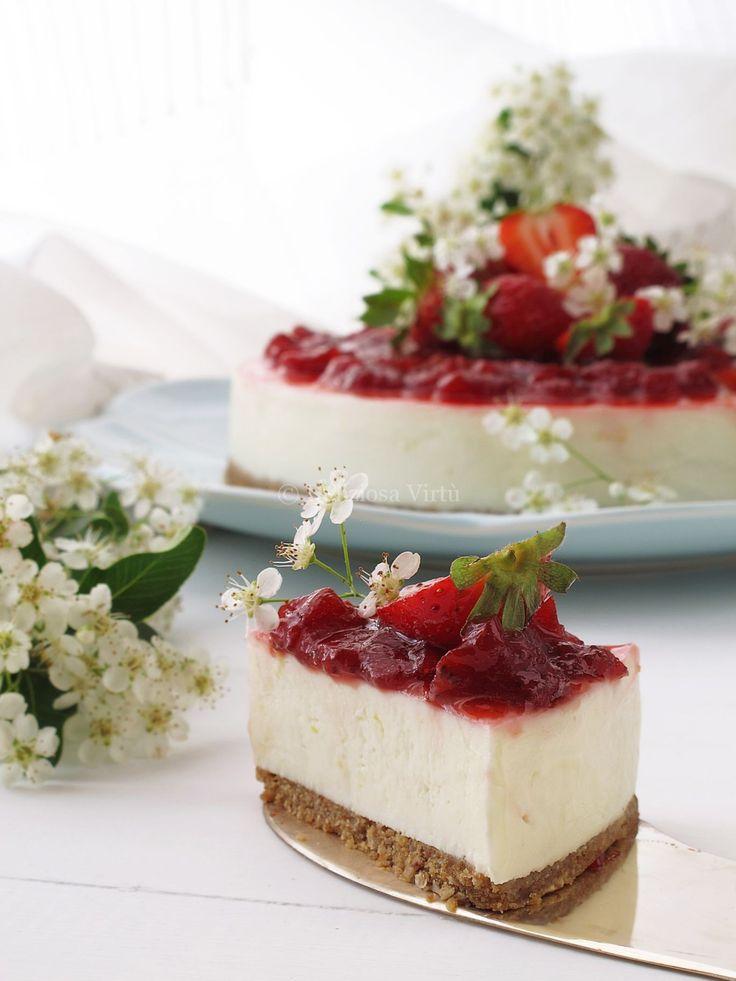 cheesecake al cioccolato bianco e fragole 3