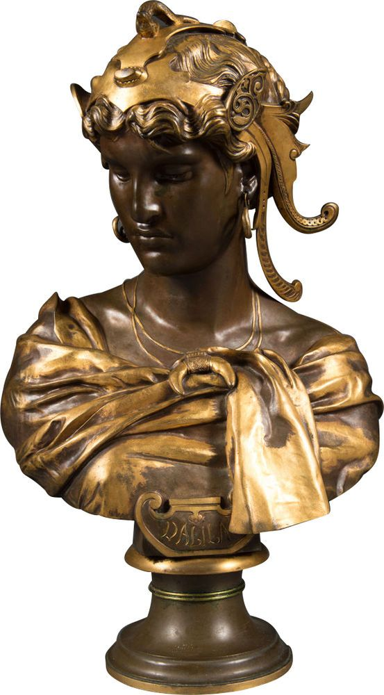 A French Antique Patinated Bronze Bust of Delila by Antoine Mercie, Barbedienne #Bustantique #AntoinMercie