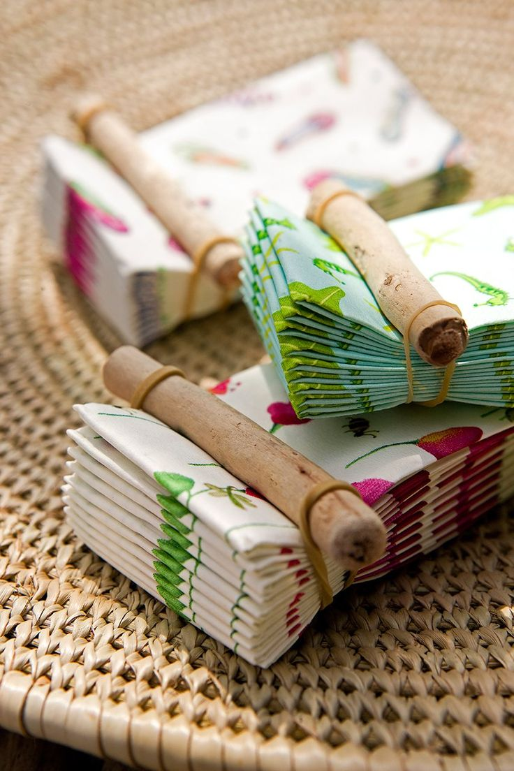 Dining Alfresco?  Secure pretty paper napkins from flying away with this simple solution.