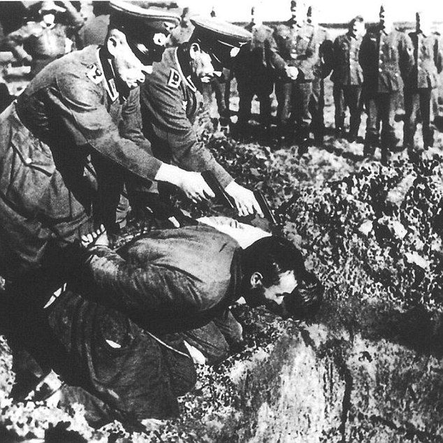 Executed comrades: An under-the-radar SAS unit went on the hunt for allies killed in cold blood by the Gestapo in occupied France. Above, Nazi officers take aim at helpless prisoners