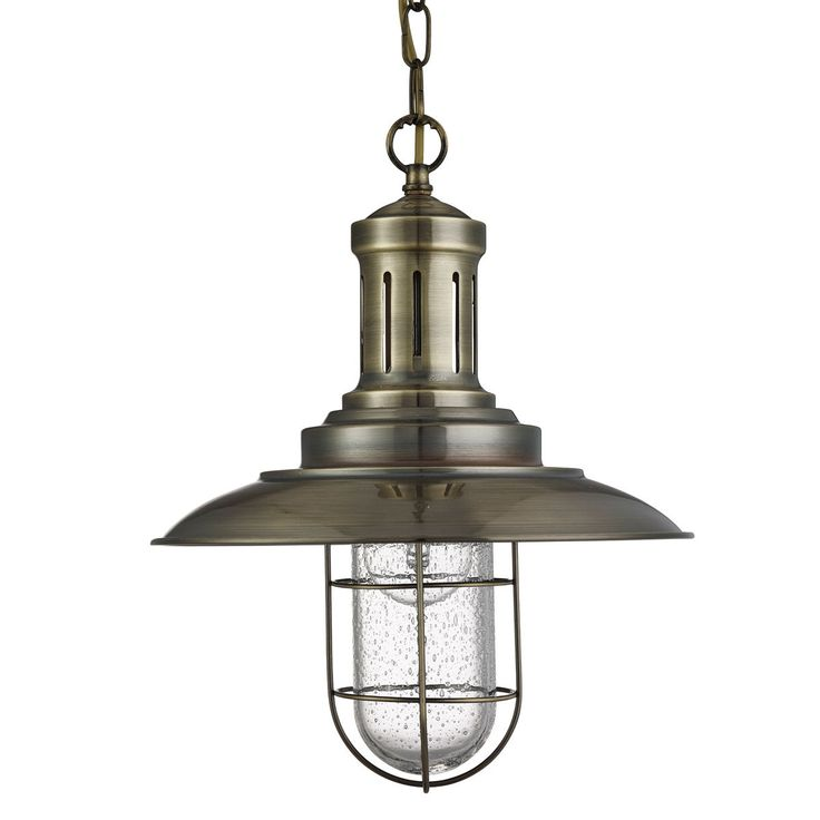 Searchlight Fisherman 1 Light Ceiling Pendant Antique Brass With Caged Shade