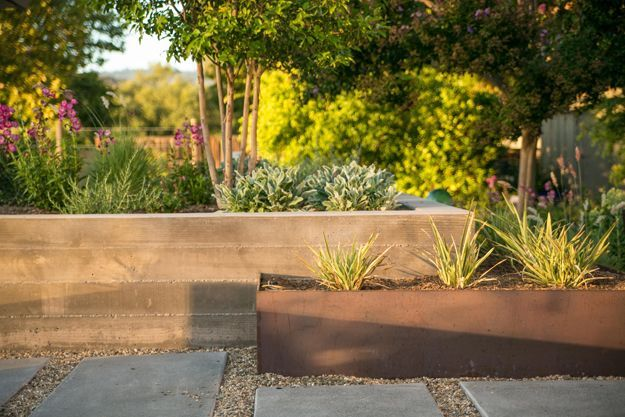 Japanese Inspired Backyard With A Tiny Studio In Portland Concrete Retaining Walls Planters Concrete Planter Boxes