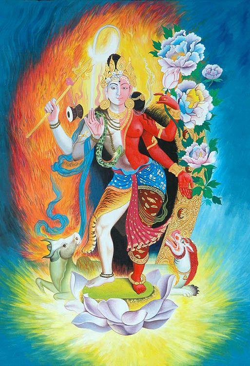 """""""Ardhanarishvara es la representación cósmica de los padres divinos, donde en Lord Shiva es el padre y la diosa Parvati es la madre. Señor Shiva ocupando la derecha representa el principio masculino, la fuerza pasiva (Purusha) y la diosa Parvati a la izquierda significa el principio femenino, la fuerza activa (Prakriti), ambos son inseparables e interdependientes y están atraídos el uno al otro""""."""