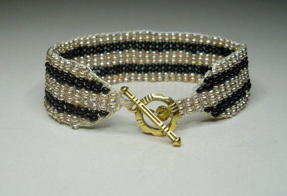 Golden dunes Striped beaded bracelet by LoretaBlueMint on Etsy