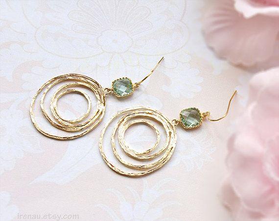 Aqua blauwe glazen oorbellen gouden swirl hoop Earrings hoop