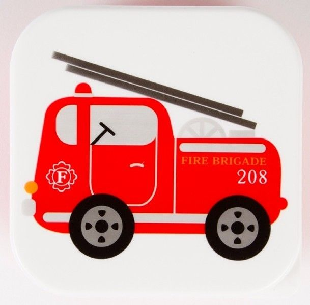 Lunchdoosje vierkant - brandweerwagen