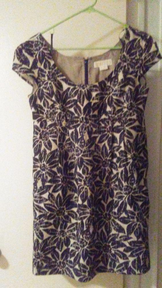 Michael kors women dress 6 beige linen with brown flowers very nice party dress #MichaelKors #party