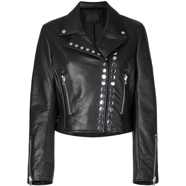 Alexander Wang cropped biker jacket (176180 RSD) ❤ liked on Polyvore featuring outerwear, jackets, black, long sleeve jacket, cropped jacket, snap jacket, zipper pocket jacket and rider jacket