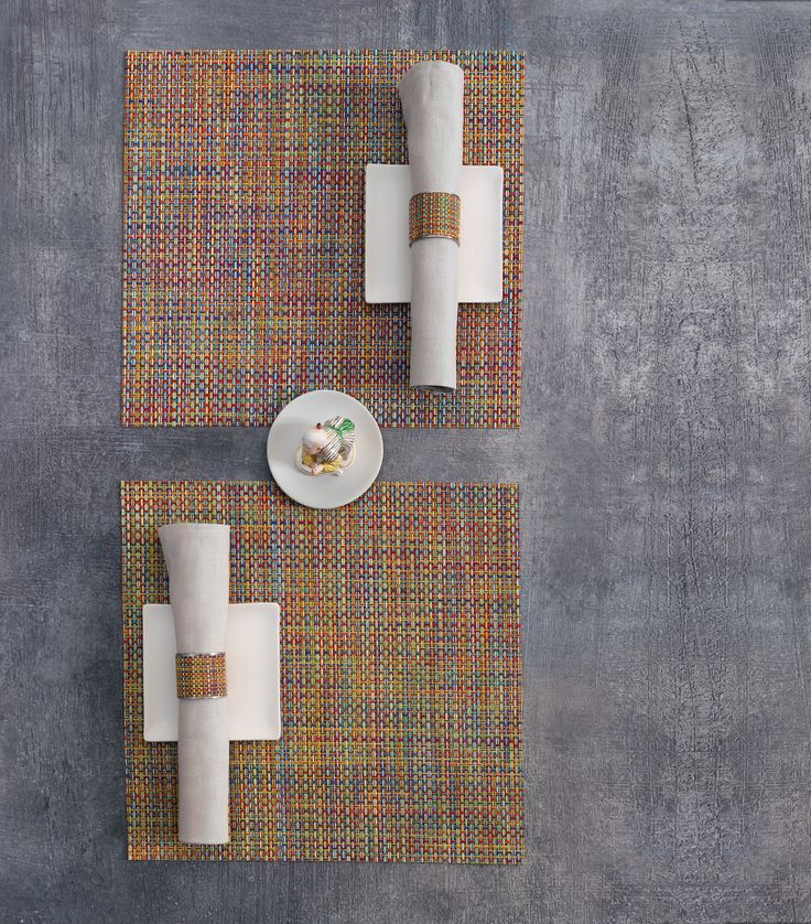 Chilewich square multi color placemats and runners