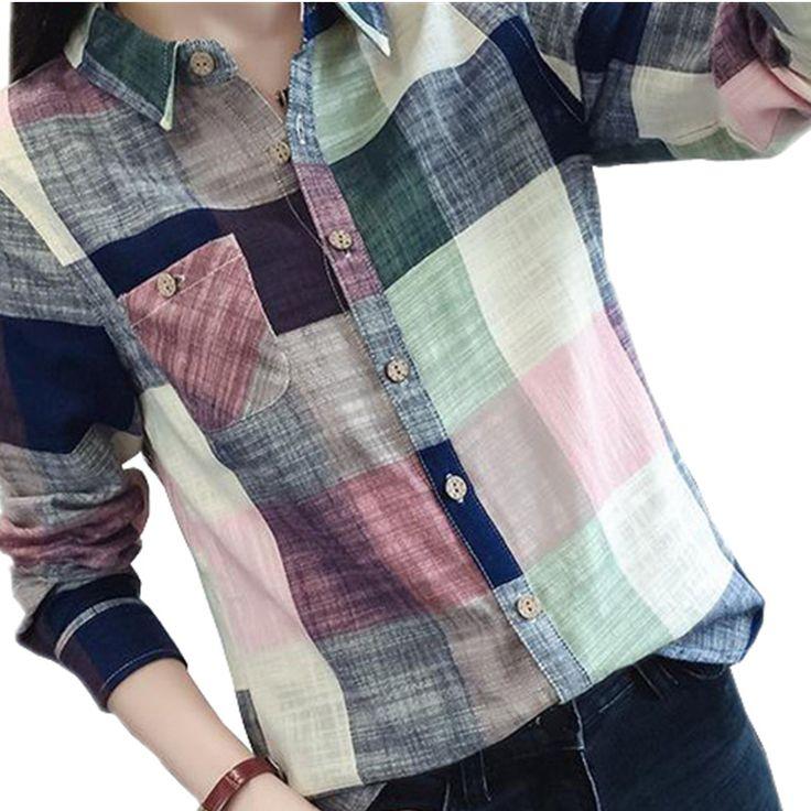 2016ホット販売レディース女性カジュアルコットン長袖格子縞のシャツ女性スリム上着ブラウストップスblusasサイズシュミーズファム