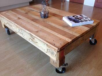 INDUSTRIAL DESIGNED PALLET TABLE ON CASTORS