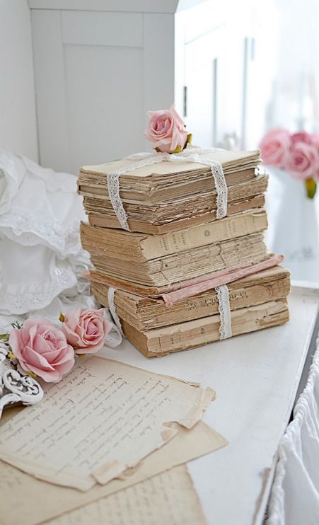 books.quenalbertini: Antique books and roses