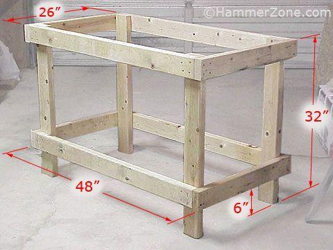 Dimensions of sturdy 2x4 workbench.