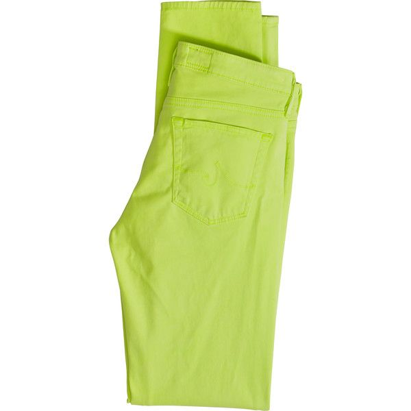 ADRIANO GOLDSCHMIED AG Sateen Skinny Pant in neon yellow (£120) ❤ liked on Polyvore featuring pants, neonyllw, green skinny pants, neon yellow pants, skinny pants, skinny trousers and low rise pants