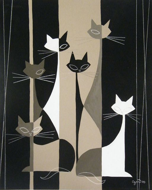 Mid Century Modern style artwork signed CZM by modern artist El Gato Gomez
